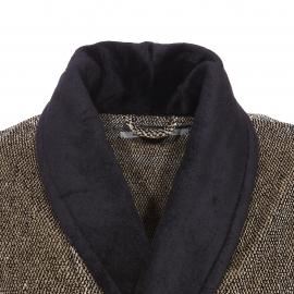 Peignoir éponge Mariner en coton beige et noir