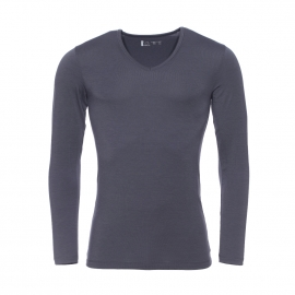 Tee-shirt manches longues col V Mariner gris anthracite