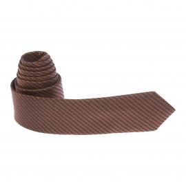 Cravate marron à rayures obliques noires