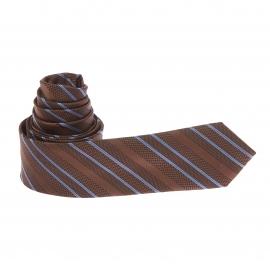 Cravate marron à rayures obliques bleues et chocolat