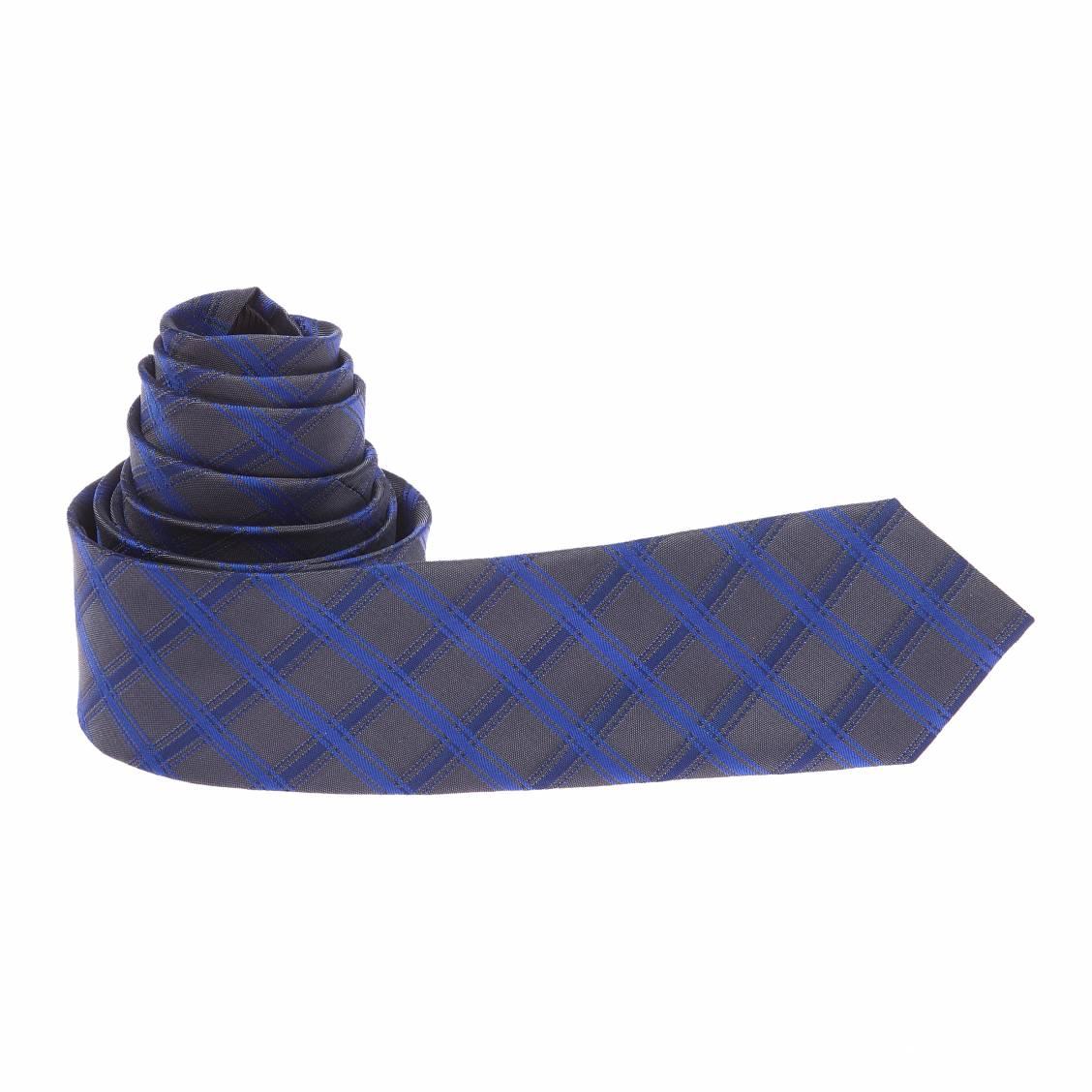 Cravate grise et bleue à carreaux
