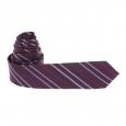 Cravate parme à rayures obliques mauve et parme