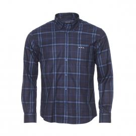 Chemise manches longues Mise Au Green en coton à carreaux bleus