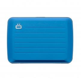 Porte-cartes Stockholm V2 Ögon bleu azur satiné, à fermoir en métal, résistant à l'eau