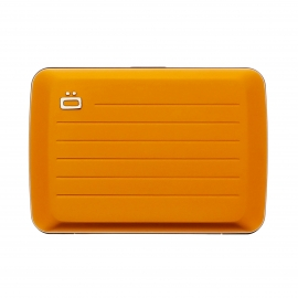 Porte-cartes Stockholm V2 Ögon orange satiné, à fermoir en métal, résistant à l'eau