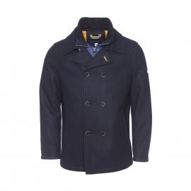 Caban Pierre Cardin en laine bleu nuit avec double col amovible