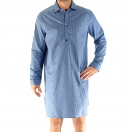 Liquette Joseph Pilus en coton bleu indigo et bleu marine