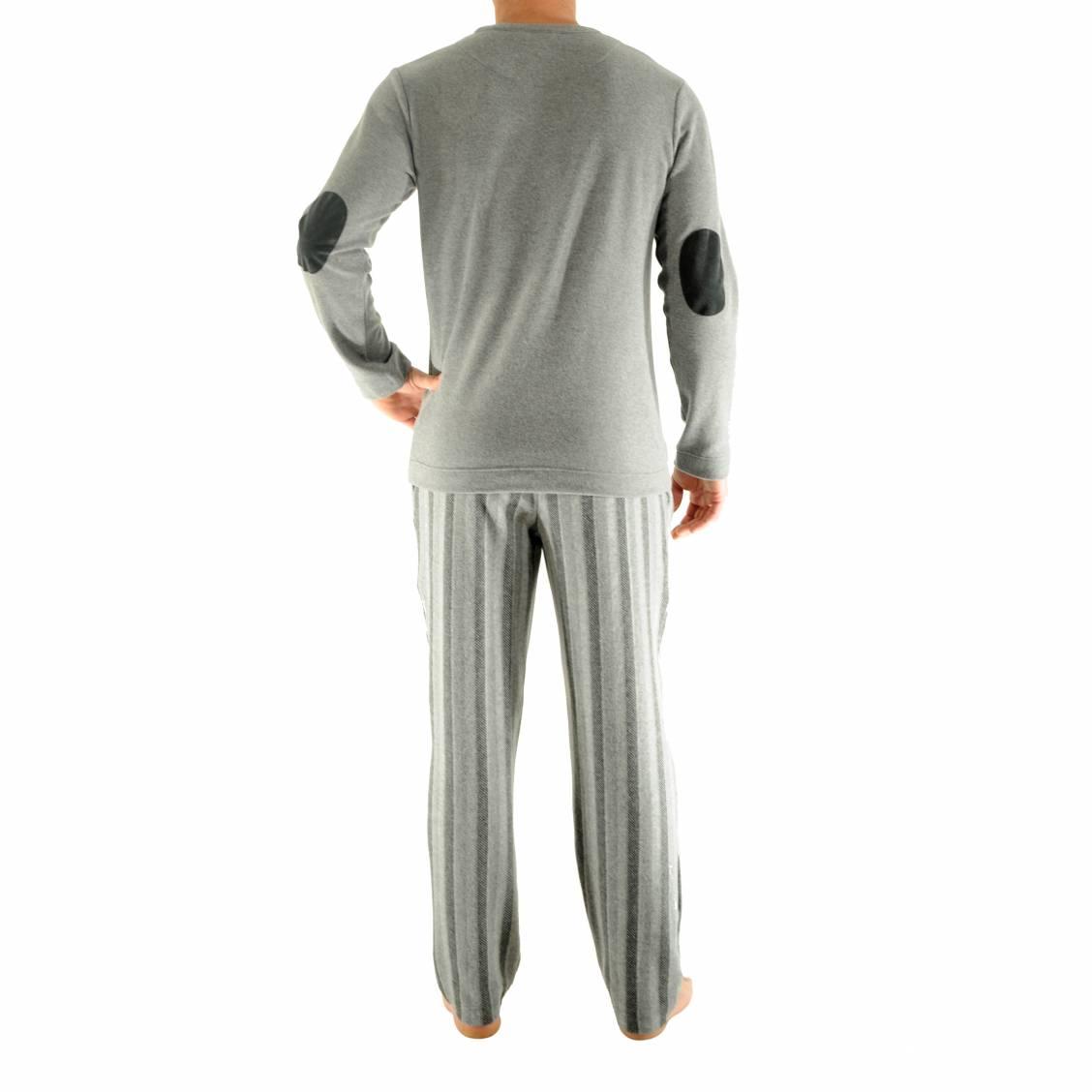 pyjama jules pilus tee shirt manches longues gris clair. Black Bedroom Furniture Sets. Home Design Ideas