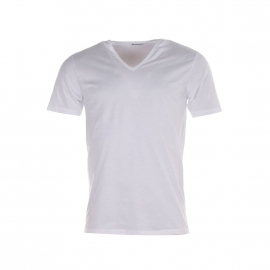 Tee-Shirt Eminence col V blanc, en pur coton d'Egypte hypoallergénique