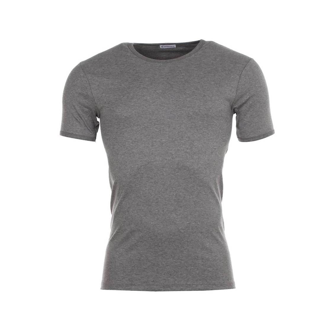 Tee-shirt gris, col rond, en pur coton hypoallergénique