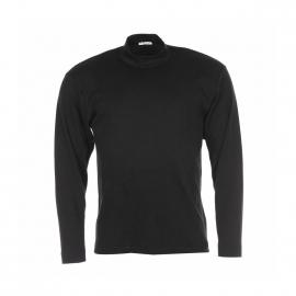 Tee shirt noir col cheminée manches longues Chaleur Naturelle