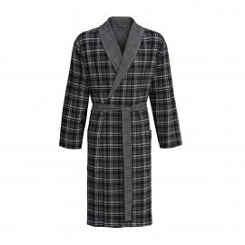 Robe de chambre Ringella à carreaux gris, anthracite et noirs, Col châle gris chiné