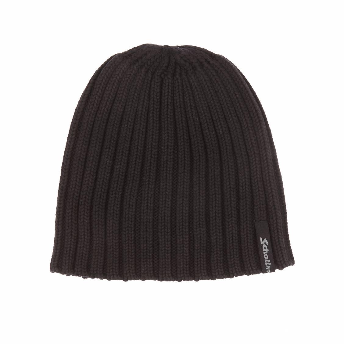 Bonnet  noir à larges côtes