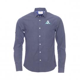 Chemise cintrée Scotch&Soda en coton bleu marine à pois blanc, pochette intégrée à la poche poitrine