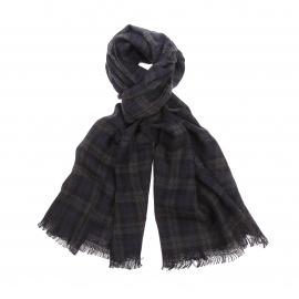 Echarpe Scotch & Soda en laine à carreaux gris, noirs et bleu marine