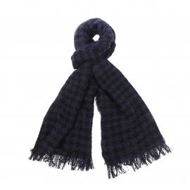 Echarpe Scotch & Soda en laine bleu marine à motif pied de poule noir