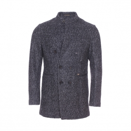 Manteau Scotch & Soda en laine gris anthracite et gris clair