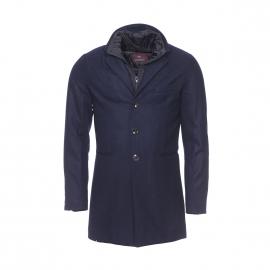 Manteau Scotch & Soda en laine bleu marine à fausse doublure noire amovible