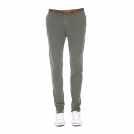 Pantalon Chino Scotch & Soda kaki à ceinture cognac