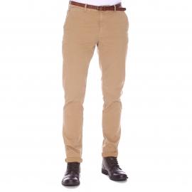 Pantalon Chino Scotch & Soda beige à ceinture marron effet craquelé