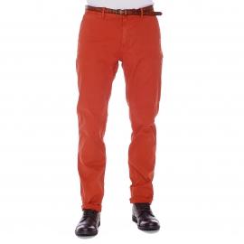 Pantalon Chino Scotch & Soda brique à ceinture marron effet craquelé