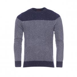 Pull col rond Scotch & Soda en laine bleu marine à motifs gris clair