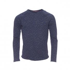 Tee-shirt manches longues épais Scotch & Soda à col  rond gris anthracite chiné à motifs bleu marine