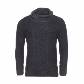 Pull col boule Scotch & Soda en laine gris anthracite chiné