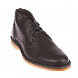 Chaussures Boots Selected en cuir noir à semelles camel