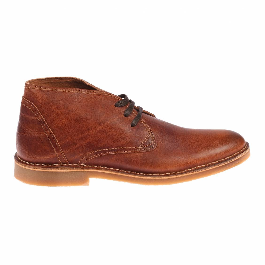 Chaussures boots selected en cuir camel lacets marron fonc rue des hommes - Cuire marron au four ...