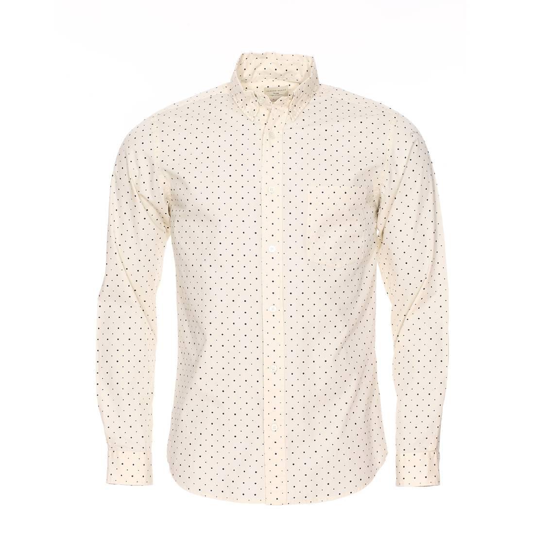 Chemise ajustée  en coton blanc cassé à pois bleu marine