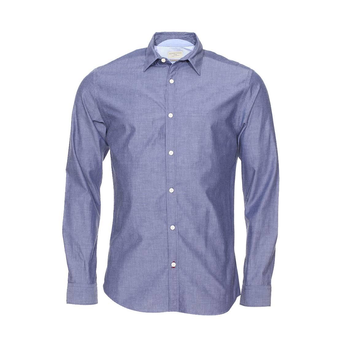 Chemise ajustée  en coton denim bleu gris