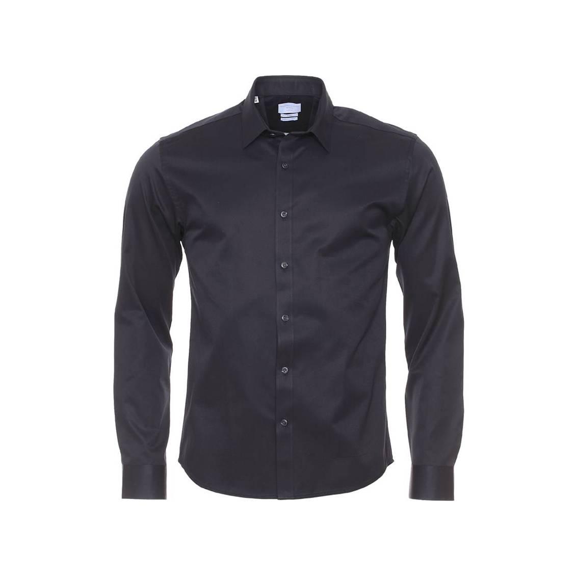 Chemise ajustée  100% en coton noir