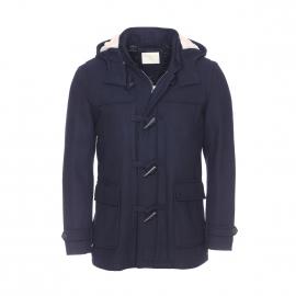Duffle Coat Selected en laine bleu marine à capuche amovible