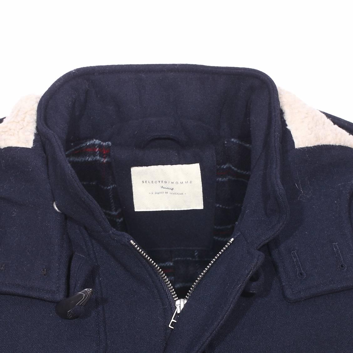 duffle coat selected en laine bleu marine capuche. Black Bedroom Furniture Sets. Home Design Ideas
