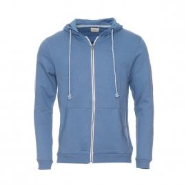 Sweat zippé à capuche Selected en coton bleu