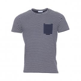 Tee-shirt Selected col rond et manches courtes 100% en coton à rayures bleu marine et blanches
