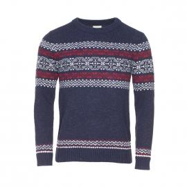 Pull jacquard Selected en laine bleu moucheté à motifs blancs et rouges
