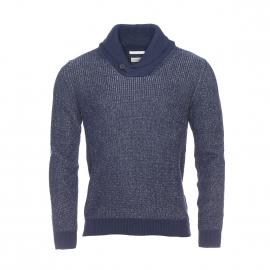 Pull col châle Selected en coton bleu chiné