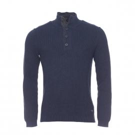 Pull col boutonné Selected en coton bleu marine