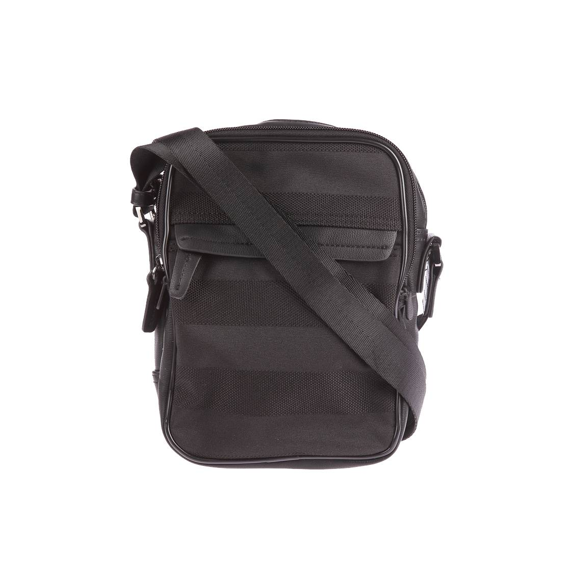 Sacoche zippée Serge Blanco noire à rayures ton sur ton. Polyester (100%)Noire - Rayures ton sur ton - Doublure intérieure bleu m