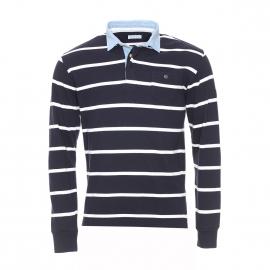 Polo manches longues Serge Blanco en coton bleu marine rayé blanc à col bleu clair denim