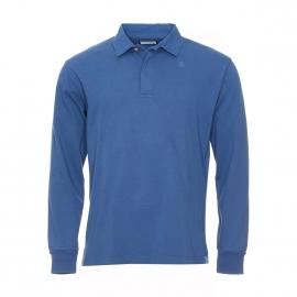 Polo manches longues Serge Blanco en coton bleu roi brodé au dos