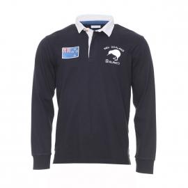 Polo manches longues New Zealand Serge Blanco en coton noir à col blanc