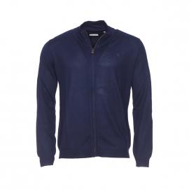 Gilet zippé et côtelé Serge Blanco en laine mélangée bleu marine