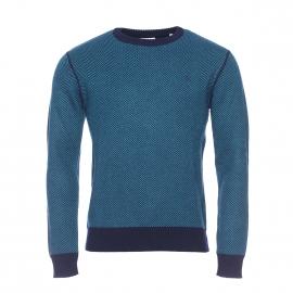 Pull col rond Serge Blanco en laine à motifs chevrons bleu marine et bleu canard
