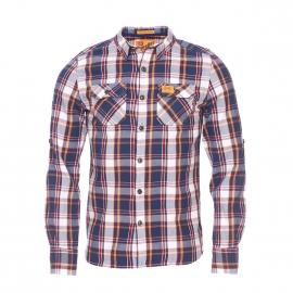 Chemise Superdry en coton à carreaux bleu marine, bordeaux, orange et crème