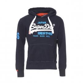 Sweat à capuche Vintage Logo Superdry en coton bleu nuit floqué