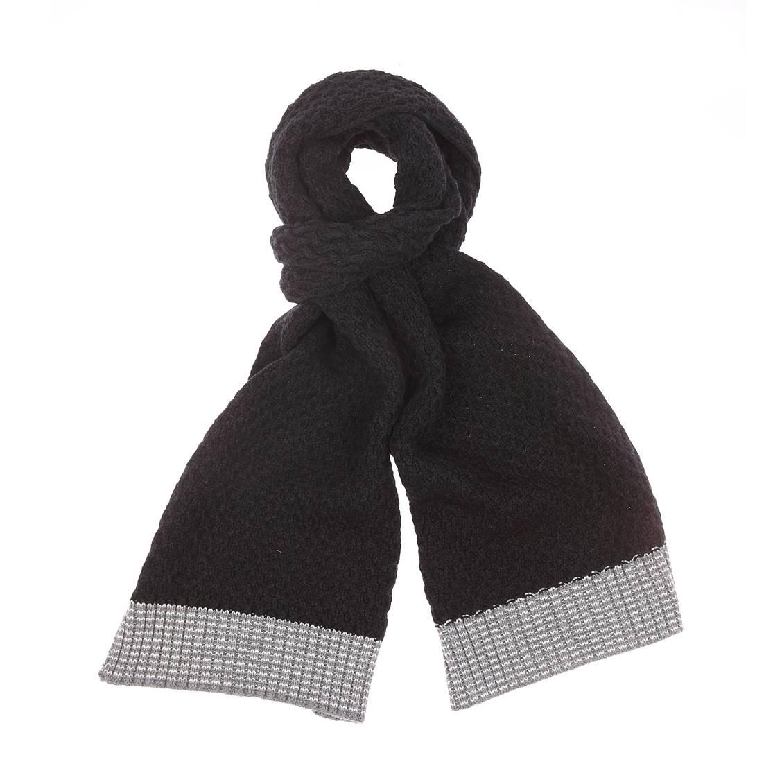 Echarpe tricotée rujcha  noire et gris clair en coton et laine