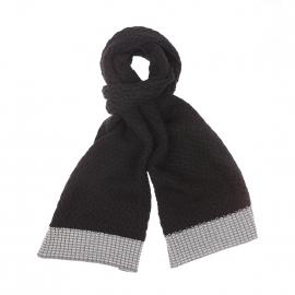 Echarpe tricotée Rujcha TBS noire et gris clair en coton et laine